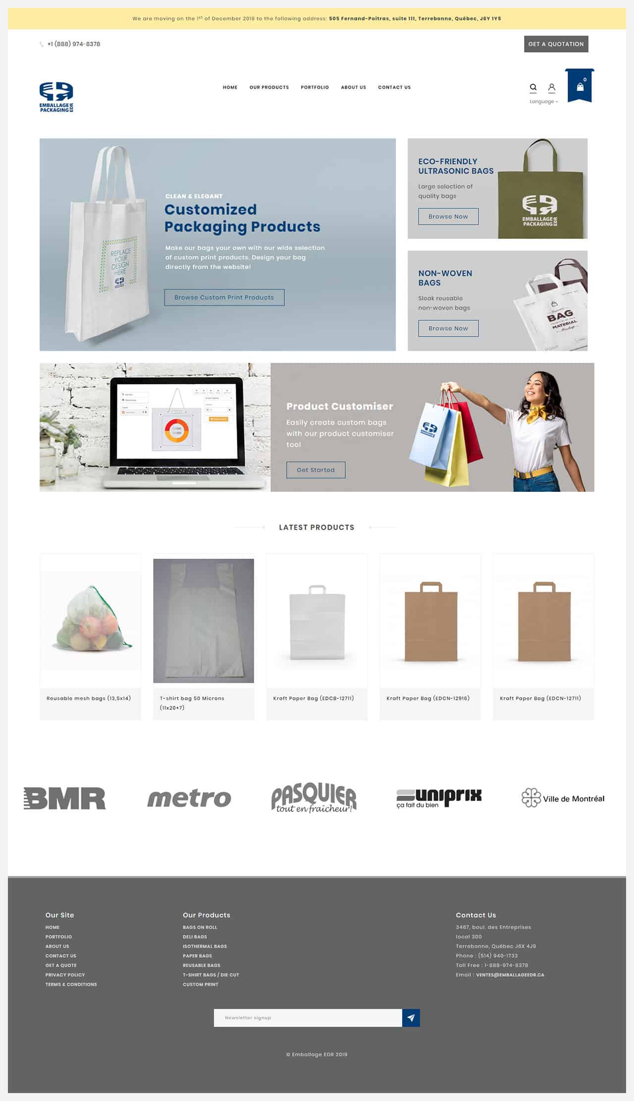 enballage website created by Courimo